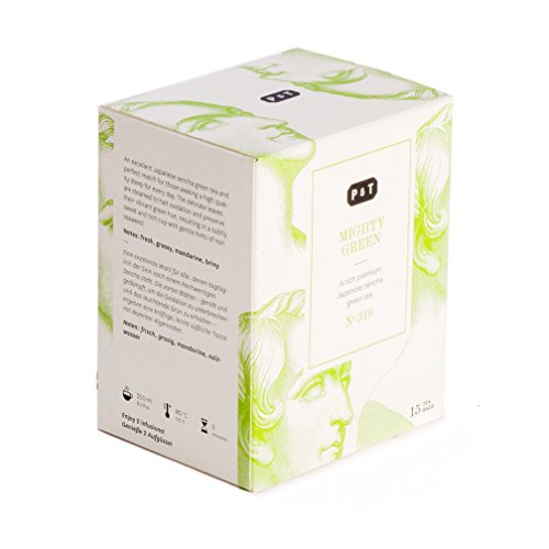 P & T Mighty Green, Purer Ganzblatt Sencha Bio-Grüntee aus Kagoshima, Japan, 15 Baumwoll-Teebeutel (45g / 1.6oz)