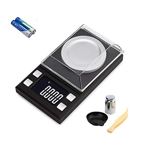 Diagtree Digital Pocket Scales 0.001g x 50g, Electronic Weighing Scales for Jewelry Coins Reload and Kitchen, 6 Mode Mini LCD Pocket Scale with Calibration Weights Tweezers and Weighing Pans