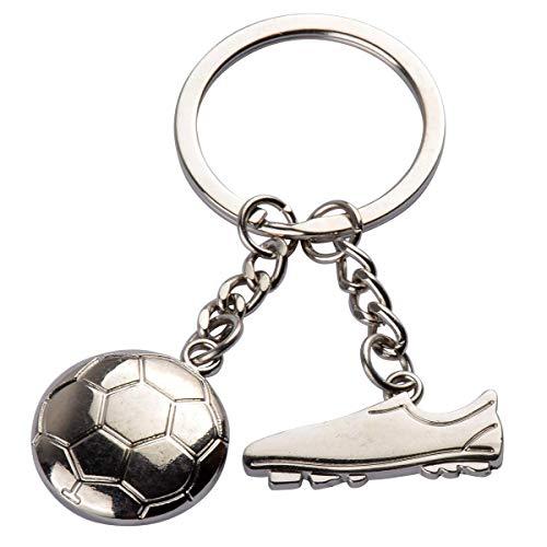 ECYC Argent Métal Porte-clés Chaussures de Football Football Pendentif Porte-clés De Voiture Porte-clés pour Hommes Garçons en Plein Air Sport