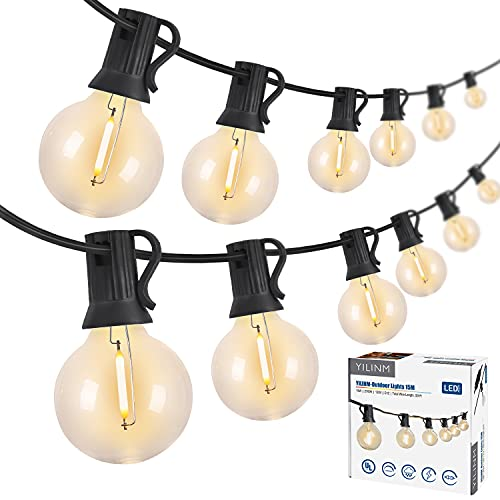 YILINM 50Feet Outdoor String Lights G40 Globe Patio Lights with 25 Shatterproof Bulbs(1 Spare), LED...