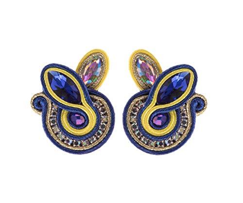 Handmade Earrings Boho Earrings Russian Braid Soutache Earrings Russian Folk Art Earrings Statement Earrings Rhinestone Earrings Boho Clip On Earrings For Women