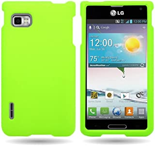 CoverON Hard Rubberized Slim Case for LG Optimus F3 Metro PCS/T-Mobile - with Cover Removal Pry Tool - Neon Green