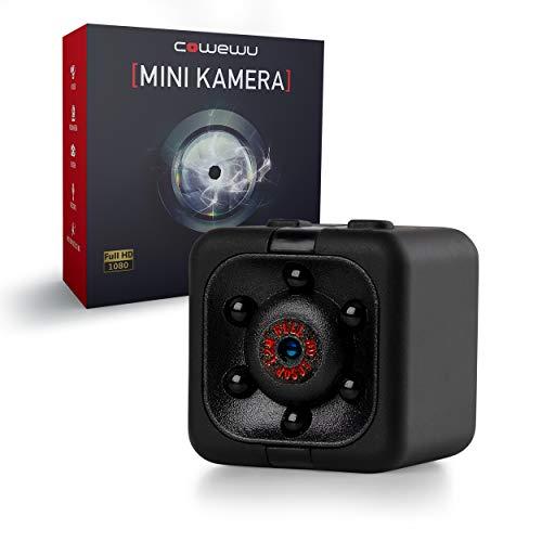 Cowewu - Mini Kamera – kleine Kamera mit Full HD 1080p und Nachtsicht – Lange Batterielaufzeit - Minikamera mit Bewegungsmelder und Speicher-Slot - inklusive Halterung, PC- und Ladekabel (Schwarz)