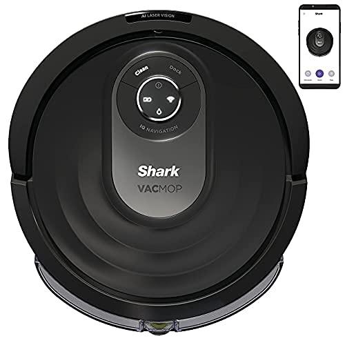 Shark AI VacMop Saug- WischRoboter [RV2001WDEU], Roboter Staubsauger & Mopp, Ultraschall-Wischen, Anti-Hair-Wrap Technologie, Teppiche und Hartböden, WLAN-App, Tierhaare