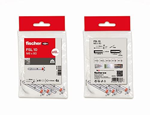 fischer - Taco metálico expansión para hormigón, Bolsa FSL 10T-L / 4B (4 unidades)