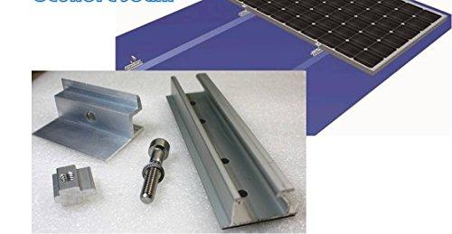 Solarmodul Alu Halterung: Schiene + 40 mm Endklemme. Blech Dach. PV. Camping.