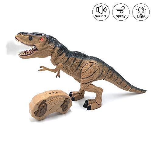 Tiranosaurio Rex Dinosaurio Teledirigido RC Muy Realista! (Movimiento, Luz, Sonido y Humo) con Mando Radio Control Remoto para Niños | T Rex Robot Dinosaurios Juguetes Interactivo (Grande)