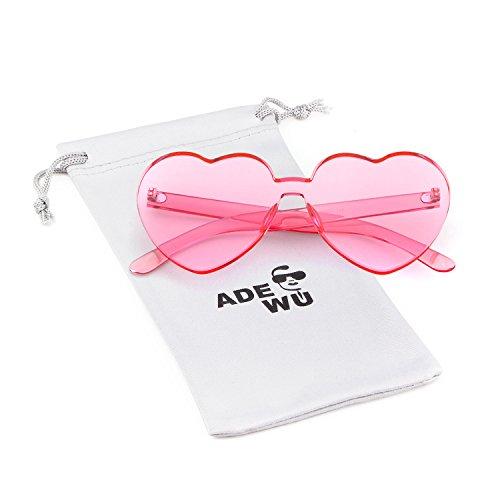 ADEWU Gafas de sol sin montura Gafas de sol con forma de corazón en forma de corazón para niña mujer