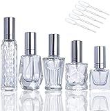 Botella de aceite esencial del perfume portátil Botellas de perfume 5pcs de vidrio retornables aerosol de la botella de cristal vacía botellas del atomizador for mujeres o niñas Retro aceite esencial