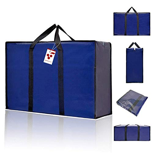BERRI BASICS Large Oxford Moving bags,Laundry Storage, Shopping Bag with Double Zipper REUSABLE