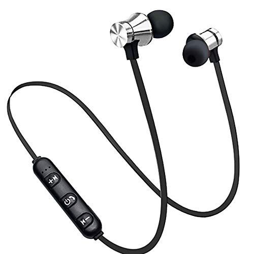 TinaDeer XT11 Wireless Bluetooth Kopfhörer Sport Stereo Ohrhörer Magnetic Wireless Kopfhörer In-Ear-Ohrhörer Sport Headset mit Mikrofon, für Smartphones (Silber)