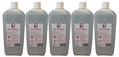 5litros de bioetanol de alto rendimiento, bidón de 1litro, 99,8% de combustible puro para chimenea móvil, decorativas o exteriores, PUREFIRE