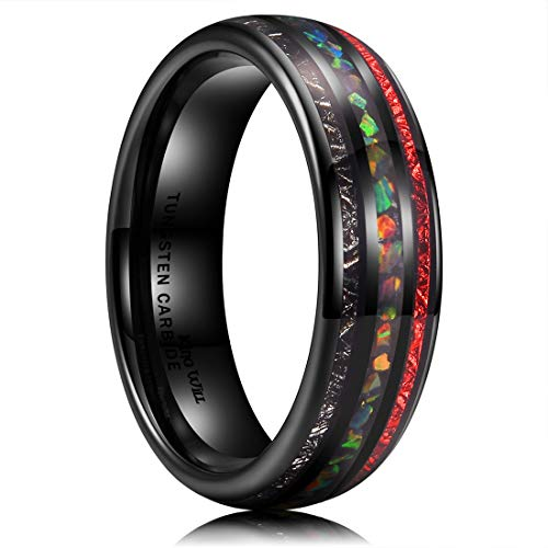 King Will Nature Mens 6mm Black Tungsten Carbide Wedding Ring Red Inlays & Sticker Inlaid Engagement Band 9.5