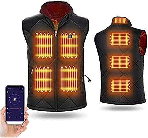 LIUPING Chaleco Térmico Eléctrico, Chaleco Térmico USB, Chaqueta De Carga para Hombres Y Mujeres con Bufanda De Tubo Multifuncional (Color : Black, Size : XXXX-Large)