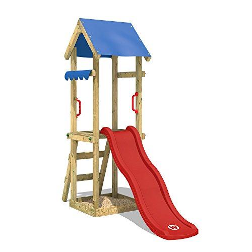 WICKEY Spielturm mit Rutsche TinySpot Kletterturm Klettergerüst mit Sandkasten und Kletterleiter, rote Rutsche + blaue Plane