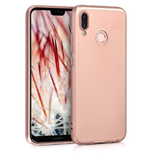 kwmobile Hülle kompatibel mit Huawei P20 Lite - Hülle Silikon - Soft Handyhülle - Handy Case in Hochglanz Rosegold