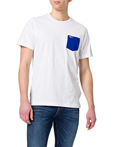 Tommy Jeans TJM Contrast Pocket tee Camiseta, Blanco, XL para Hombre