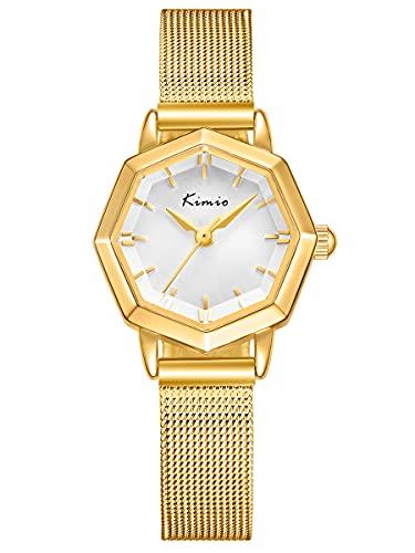 Alienwork Armbanduhr Damen Gold Metall Mesh Armband Edelstahl Weiss Elegant Damen
