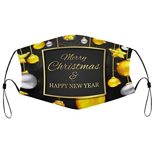 DKISEE Fashion Unisex Staubmaske mit Filterelement, verstellbare Ohrschlaufe, Gesichtsmaske, Outdoor-Schutzmaske (Weihnachten, goldene Grußkarte)