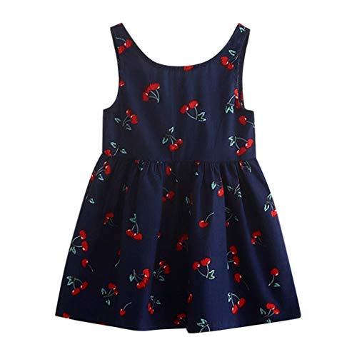 IMJONO Été Robe de Princesse Filles Coton Robe à Fleurs Bébé Fille Cadeau Enfants Fête Mariage sans Manches Robes pour 2020 Tenue d'été pour Enfants 2-7 Ans(Marine,5-6 Ans