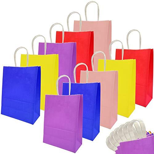 Bolsas de Papel, Bolsa de Regalo Kraft con Asas, Bolsas de golosinas para Fiestas para Celebraciones cumpleaños Boda Partido Navidad Fiesta (30pcs)