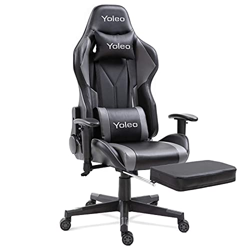 Dripex Gaming Chair Ergonomic Office Chair Adjustable Swivel Leather Racing Computer Desk Chair with Lumbar Support and Headrest for Adult and Kid (Black, with footrest)