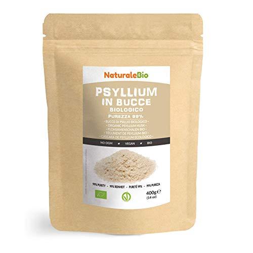 Cáscara de Psyllium Ecológico [99% Pureza] 400g. Psyllium Husk, Natural y Puro. 100% cutícula de semillas de Psilio Orgánico, producido en India. Rico en Fibra, para añadir al Agua, Bebidas y Zumos.