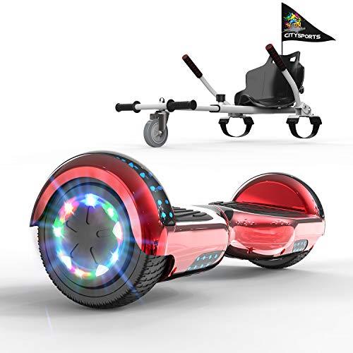 """Patiente eléctrico GeekMe Patinete Eléctrico 6.5"""" con Hoverkart Self Balance Scooter Las Ruedas LED Luces, Scooter eléctrico con Bluetooth Dual Motor 700W"""