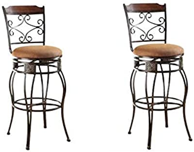Stupendous Amazon Com Acme Set Of 2 Tavio Swivel Bar Chair 29 Inch Machost Co Dining Chair Design Ideas Machostcouk