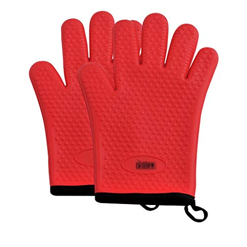 Oven Gloves, BBQ Grill Gloves Kitchen Baking Best Versatile Heat Resistant Grill Gloves, Insulated Silicone Oven Mitts, Full Finger Waterproof,Red