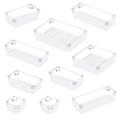 10 Pcs Cajas Organizador con 5 Tamaños Diferentes,Eletorot Organizador Cajones para Cajones, Bandejas de Maquillaje Papelería Cubiertos para Baño Cocina Oficina Escritorio (Blanco transparente)