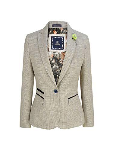 House Of Cavani Damensakko Tweed Fischgräte Design Peaky Blinders Klassisch Vintage - Creme S