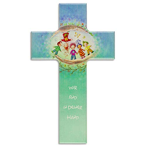kruzifix24 Devotionalien Kinderkreuz Wir sind in Deiner Hand - Kinder geborgen in Gottes Hand - Taufkreuz Geschenk zur Geburt Geschenkidee Holzkreuz 15 x 9 cm