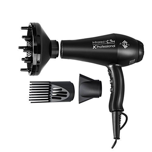 Jinri Professional Salon 1875w Far Infraed Negative Ion 2 Speeds 3 Heat Ionic Hair Dryer with...