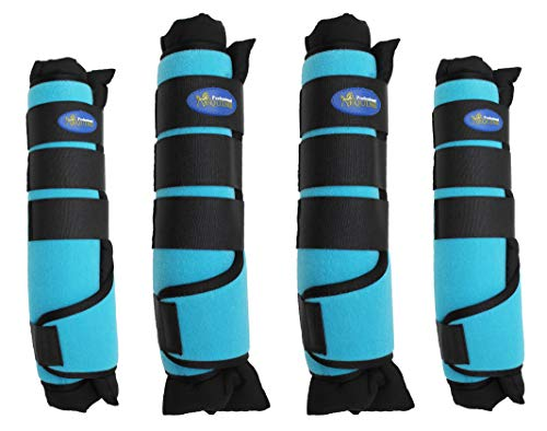 Professional Equine Horse Horse 4-Pack Leg Care Stable Shipping Neoprene Boot Wraps Turquoise 4108TR