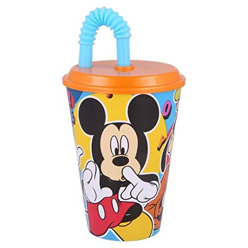 ILS I LOVE SHOPPING Bicchiere Sport con Cannuccia 430 ml per Bambini in plastica (Mickey Cool Summer)