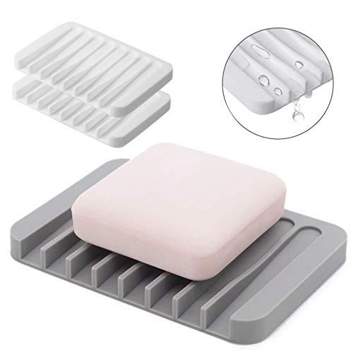 Comway Seifenschale, selbstabtropfend, Silikon-Gummi-Abtropfgestell für Dusche, Bad, Küche, Theke, hält Seife trocken und einfache Reinigung
