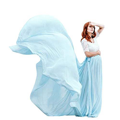 Damska sukienka ciążowa, długa, szyfon, odświętna, z koronki, krótkie rękawy, sukienka ciążowa, do zdjęć, elegancka sukienka ślubna, sukienka do karmienia, mama maxi, moda ciążowa, niebieski, M