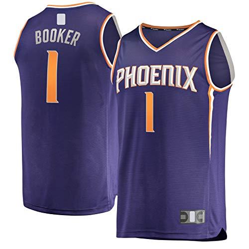 HFHDF Devin Top Sin Mangas Booker Baloncesto Jersey Phoenix Ropa Sol Deportes #1 Fast Break Jersey Púrpura - Icono Edition-XXL