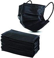 Straame Engångsansiktsmasker, 3-lager, andningsaktiv, svart, 50 stycken