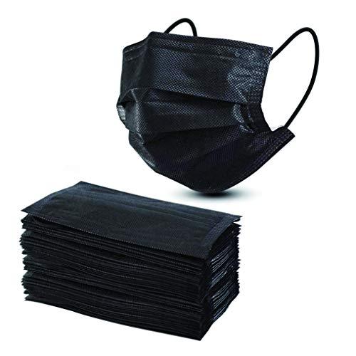 Straame BFM50 3-lagige Einweg-Gesichtsmaske, hohe Filterfähigkeit, geeignet für empfindliche Haut, atmungsaktiv, Schwarz, 50 Stück