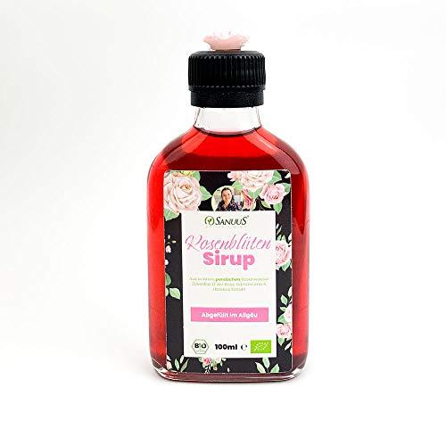 100ml Bio Rosenblütensirup der persischen Rose Damascena handgemacht aus echten Blüten & mit echtem Hibiskus Extrakt für Cocktails, zum backen, Dessert oder als Geschenk