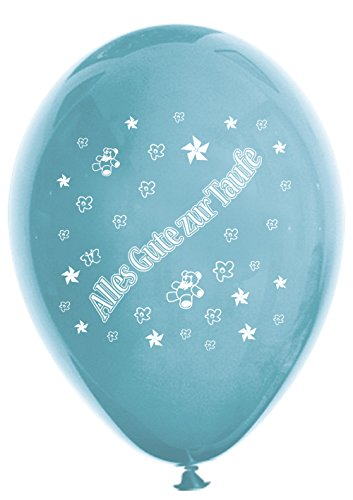 Unbekannt 10 Luftballons Alles Gute zur Taufe, blau & hellblau, ca. 30 cm Durchmesser