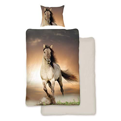 SkyBrands Parure de lit en coton renforcé Motif cheval 135 x 200 cm + 80 x 80 cm