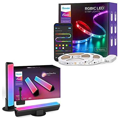 Govee 32.8 RGBIC LED Strip Lights and Smart Light Bars, Smart Segmented Color, Music Sync Work with Alexa & Google Assistant