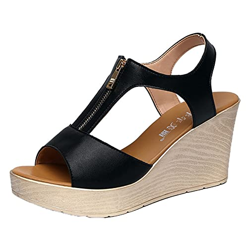 Zapatos de verano para mujer, sandalias romanas diarias de cuña para exteriores, boca de pez, punta abierta, calzado para caminar por la calle, zapatos de playa, cremallera frontal