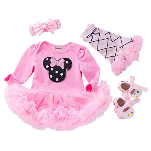 HOSUKKO - Traje de bebé para niña (medio/1º/2º cumpleaños, mono y tutú+corona+diadema - rosa - 12 -18 meses