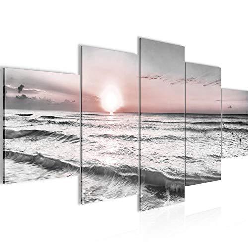 Runa Art - Cuadro Puesta De Sol Playa 200 x 100 cm 5 Piezas XXL Decoracion de Pared Diseño Gris Rosado 023751b