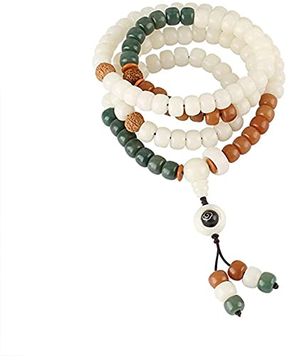 HYJMJJ Pulsera Feng Shui Bead Estilo étnico Piedra Natural Bodhi Collar Largo 108 Perlas Pulsera suéter Cadena Pulsera de Abalorios de Amuleto