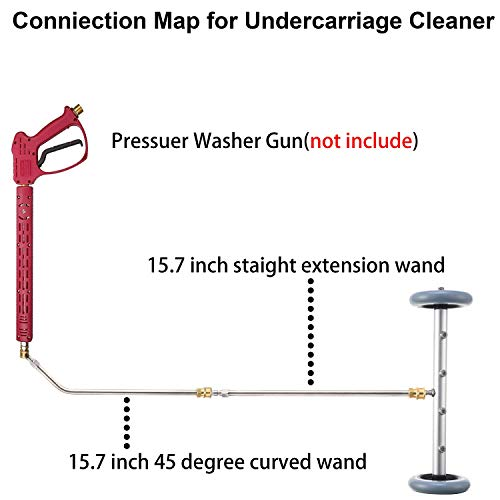 RIDGE WASHER Pressure Washer Undercarriage Cleaner, 16 Inch Undercarriage Washer, Pressure Washer Under Car Cleaner with Straight Extension Wand, 4000 PSI